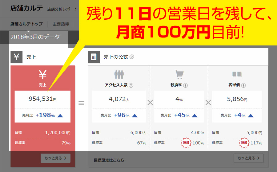 楽天市場の月商100万円