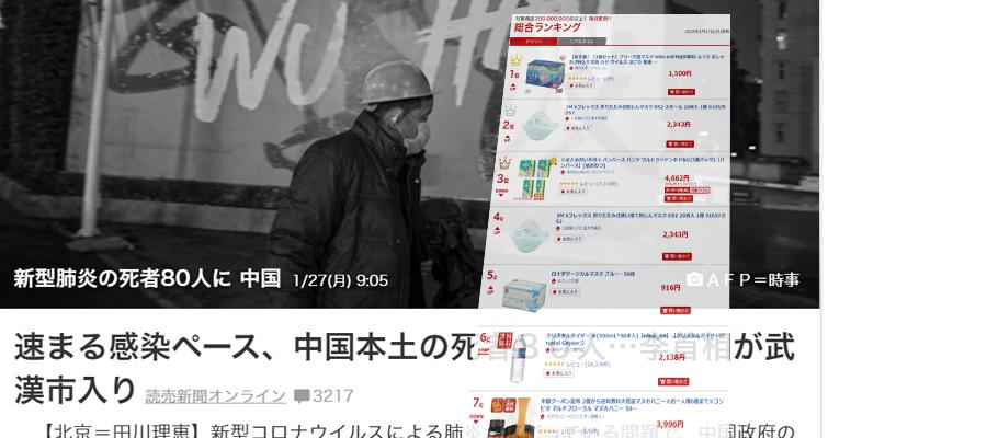 中国の新型コロナウイルスの影響で楽天市場のマスクの売上が激増中!