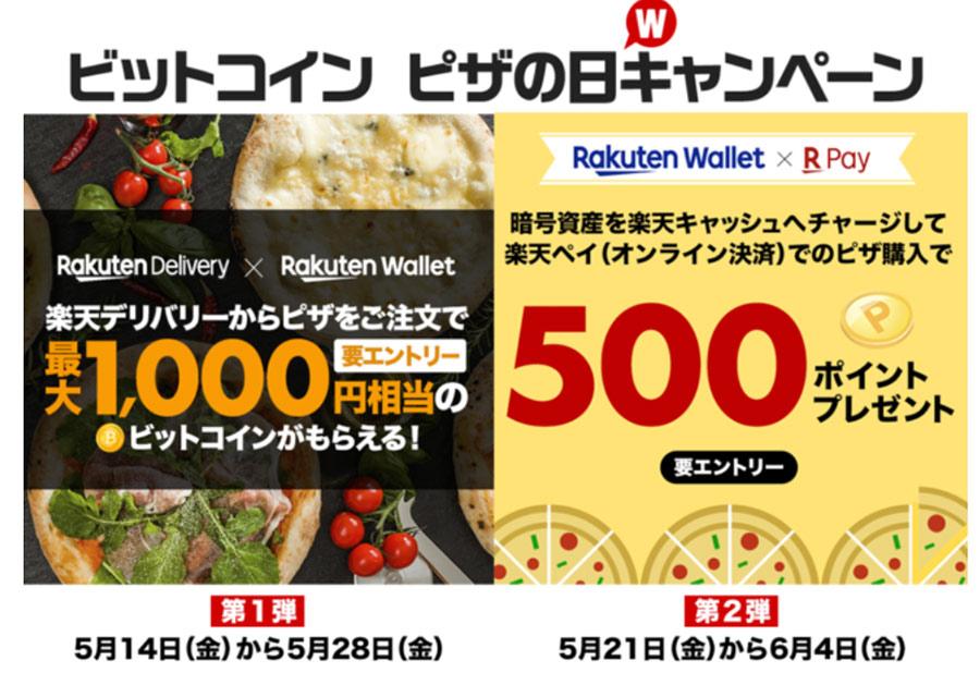 楽天と楽天ウォレットが「ビットコインピザの日」を記念し、「ビットコインピザの日キャンペーン」を開催!