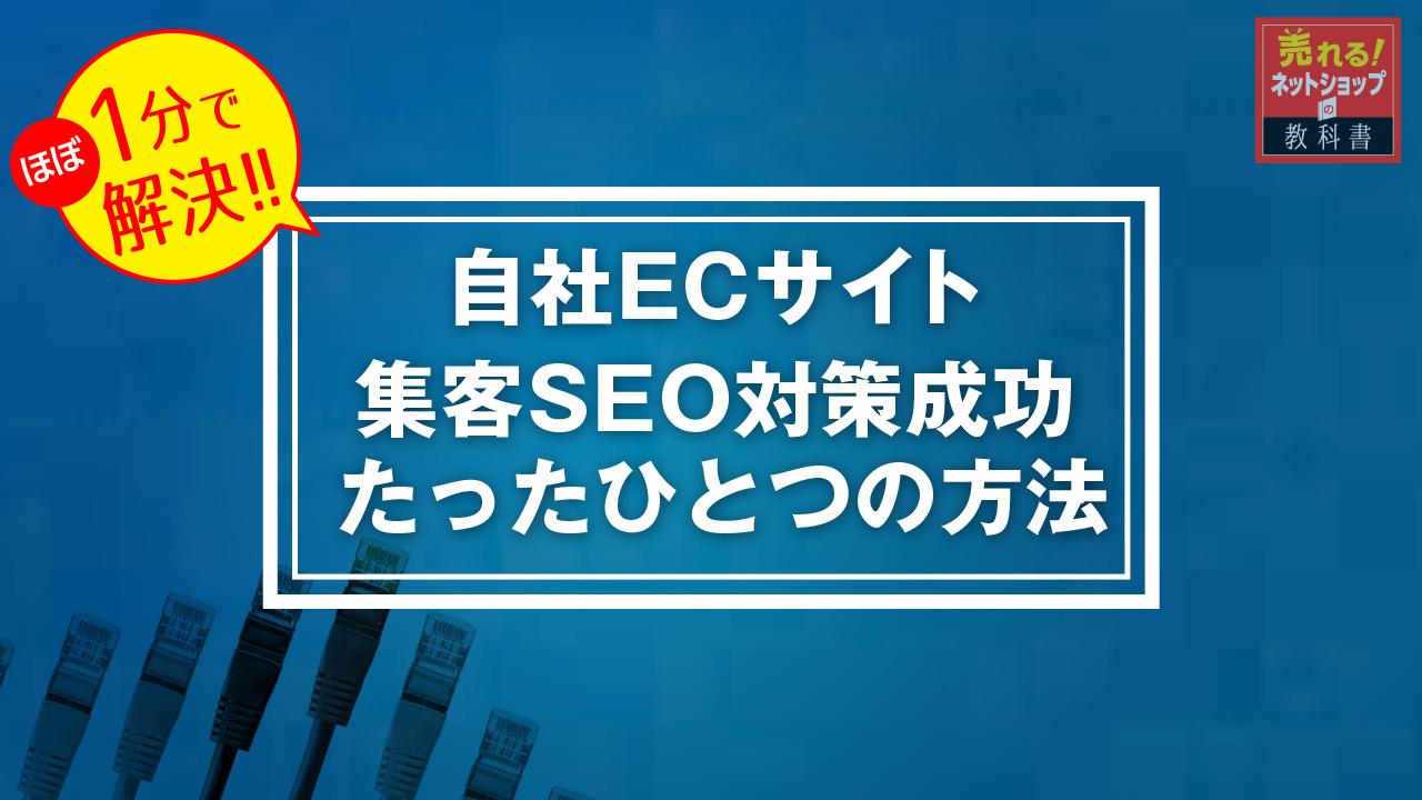 コンテンツSEO・ECサイトの集客SEO対策成功へのたった1つの方法